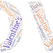 Tag or word cloud Valentine's Day related in shape of LOVE word — Stock Photo