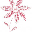 Tag or word cloud Valentine's Day related in shape of flower — Stock Photo