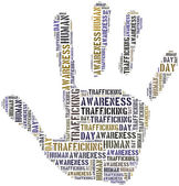 Tag or word cloud human trafficking awareness day related — Stock Photo