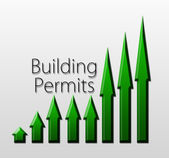 Chart illustrating building permits growth — Stock Photo