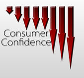 Chart illustrating Consumer Confidence drop — Stock Photo