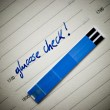 Stockfoto: Stripes for glucose test, reminding note in personal organiser.