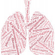 Stock Photo: Word cloud of respiratory system diseases in shape of lungs.