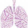 Word cloud cystic fibrosis related in shape of Lungs. — Stock Photo