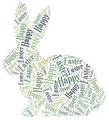 Word cloud Easter related in shape of bunny — Stock Photo