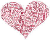 Word cloud heart disease related in shape of heart organ — Stock Photo