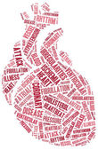 Word cloud heart disease related in shape of heart organ — Stock Photo