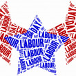 Stock Photo: Word cloud labour day related in shape of stars