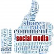 Word cloud social media related in shape of thumb — Stock Photo