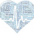 Word cloud World Health Day related in shape of heart — Stock Photo