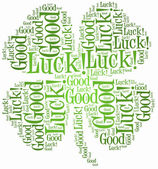 Tag or word cloud luck related in shape of four leaf clover — Stock Photo