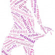 Word cloud of sexy posing woman silhouette — Stock Photo #43694077
