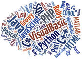 Word cloud programming languages or IT related — Stock Photo