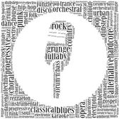 Word cloud concept of music genres — Stock Photo