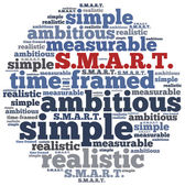 Word cloud illustration related to SMART concept of goals — Stock Photo