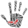 Word cloud illustration in shape of hand print showing protest. — Stock Photo #50577019