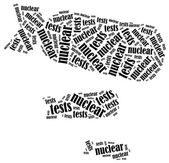 Word cloud illustration related to nuclear tests — Stock Photo