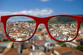 Sharp sight concept. Blurred and sharpen eyesight. — Stock Photo