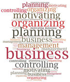Business management functions. Word cloud illustration. — Stock fotografie