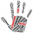 Word cloud illustration in shape of hand print showing protest. — Stock Photo #51229123