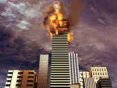Building on fire — Stock Photo