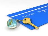 Key-chain, key and travel ticket — Stock Photo