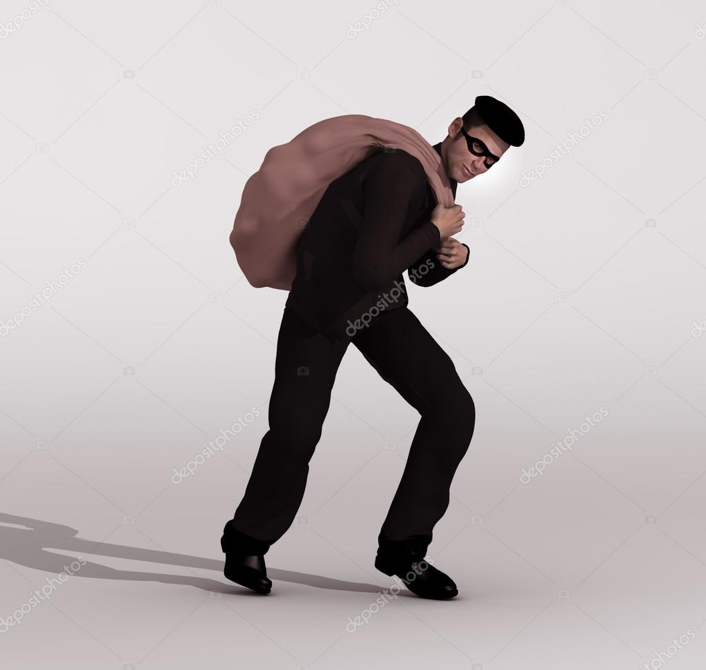 Thief escaping with the loot — Stock Photo #13253146