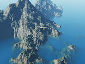 Plane flying over a rocky islet — Stock Photo