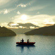 Man and boy fishing in a boat — Stock Photo #17334115