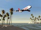 Airliner flying over a tropical area — Stock Photo