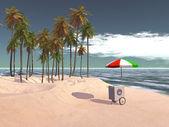 Ice cream push cart at tropical beach — Stok fotoğraf