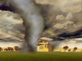 Tornado destroying a house — Stock Photo