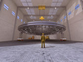 UFO in a hangar — Stock Photo