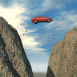 Car jumping over a cliff — Stock Photo
