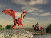 Knight and dragon — Stock Photo