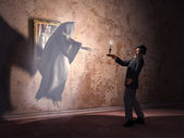 Nineteenth century man encountering a ghost — Stock Photo