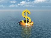 Money symbol at sea with lifebelt — Stock Photo
