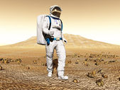 Man exploring Mars — Stock Photo
