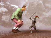 Knight confronting a giant — Stock Photo
