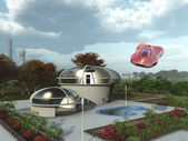 Futuristic suburban home — Stock Photo