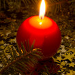 Red, spherical candle — Stock Photo