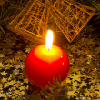 Foto Stock: Red, spherical candle
