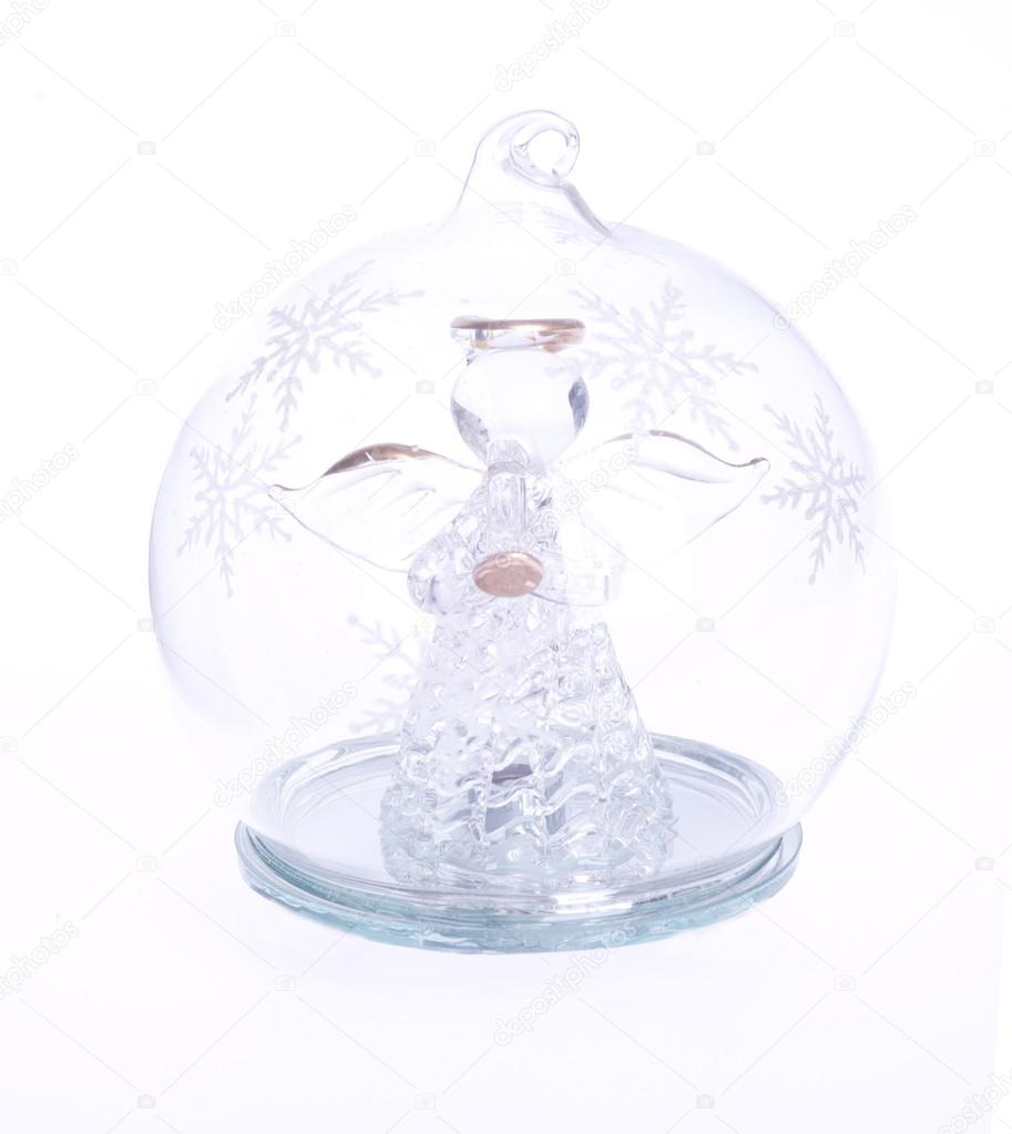 Glass angel locked in a glass bauble on a white background — Stock Photo #14492379