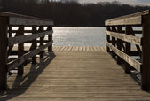 Empty small dock on the lake — Stock Photo