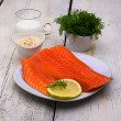 Delicious organic salmon in the baking tray — Stock Photo