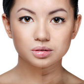 Beautiful healthy versus unhealthy skin complexion — Stock Photo