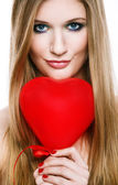 Valentine's Day.Beautiful smiling blonde — Stock Photo