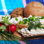 Healthy breakfast, sandwich, cottage cheese — Stock Photo