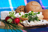 Healthy breakfast, sandwich, cottage cheese — Stockfoto