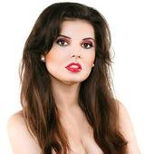 Linda mulher com lábios vermelhos — Foto Stock